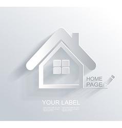 White paper origami home icon vector image