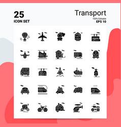 25 transport icon set 100 editable eps 10 files vector image