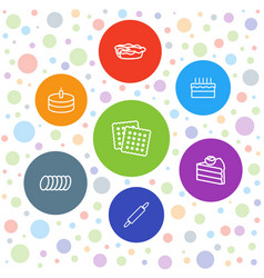 7 pastry icons vector image