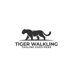 abstract silhouette tiger walking concept template vector image