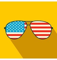 American flag glasses flat icon vector