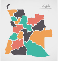 angola map with states and modern round shapes vector image
