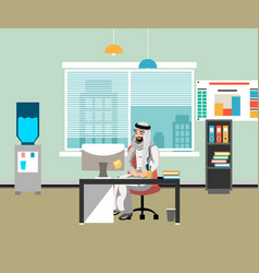 arabic businessman in office vector image