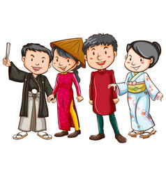 Asian people in traditional costumes vector