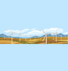 Autumn natural landscape with windmills vector
