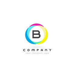 b letter logo design with rainbow rounded colors vector image