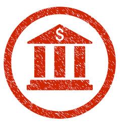 Bank building rounded grainy icon vector