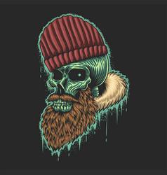 beard skull vector image