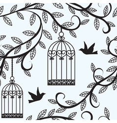 birds flying and cage vector image vector image
