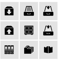 black archive icon set vector image