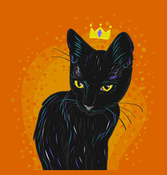 Black cat with a crown on an orange background vector