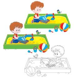 Boy plays in a sandbox vector