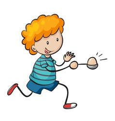 Boy running in egg and spoon race vector