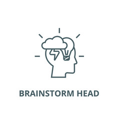 brainstorm head line icon brainstorm head vector image