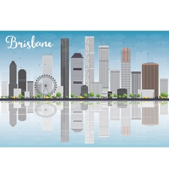 Brisbane skyline with grey building vector image
