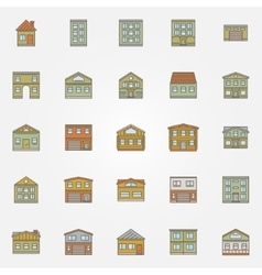 Buildings colorful icons vector image