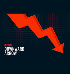 Business decline downward arrow trend background vector