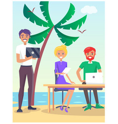 business travelling poster with people on beach vector image