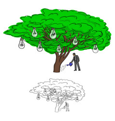 businessman watering bulb tree vector image