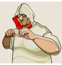 cartoon character fighter man in the hood vector image
