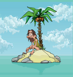 Cartoon lonely man on a small island with a palm vector