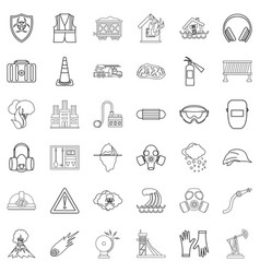 Catastrophic icons set outline style vector