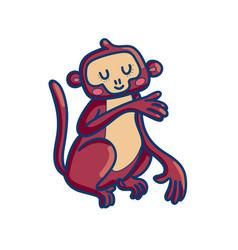 charming cartoon monkey on white background vector image