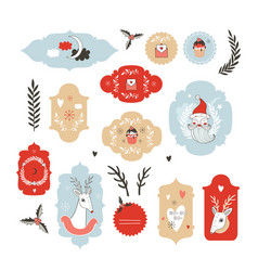 Collection of christmas new year labels hand vector