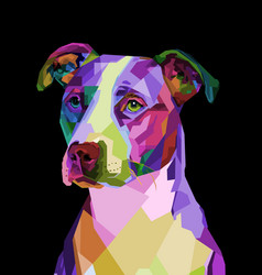 Colorful pitbull terrier dog on pop art geometric vector