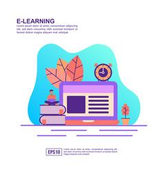 concept e learning modern conceptual for vector image
