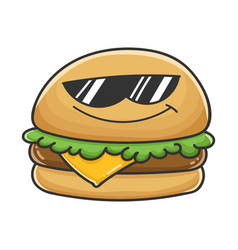 cool sunglasses cheese burger cartoon vector image