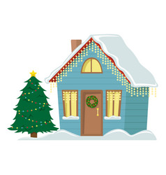 Country cottage decorated with christmas garland vector