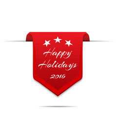curved red banner happy holidays with shadow vector image