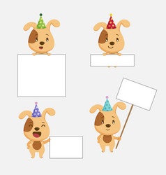 cute dog animal with blanks for text in cartoon st vector image