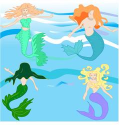 Cute fairy tale mermaid set vector