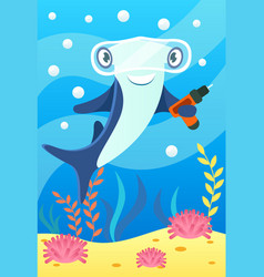 Cute smiling animals and underwater world cute vector