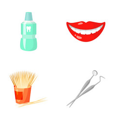 Dental sterile liquid in the jar lips teeth vector