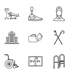 Disability icons set outline style vector image