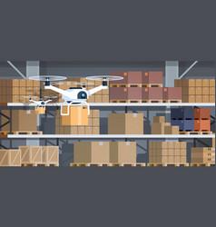 Drone working modern warehouse interior advanced vector