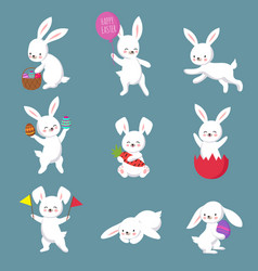 Easter cute happy bunny rabbit characters vector