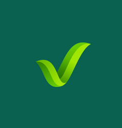 eco leaves check mark logo icon design template vector image