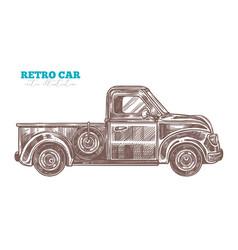 engraved retro pickup truck vector image