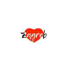 European capital city zagreb love heart text logo vector