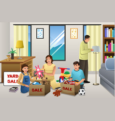 Family sorting items for a garage sale vector