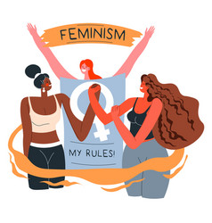 feminism my body my rules empowerment movement vector image