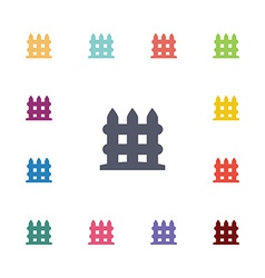Fence flat icons set vector