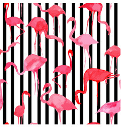 flamingo watercolor silhouette pattern black and vector image