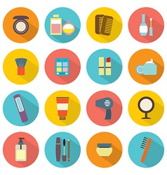 Flat Design Colorful Cosmetics Icons vector