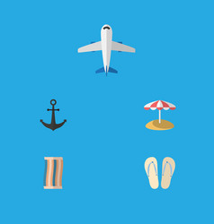 Flat icon beach set of wiper beach sandals ship vector