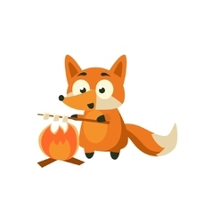 Fox Cooking Marshmellows vector